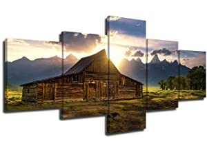 Landscape Paintings for Living Room Moulton Barn on Mormon Row Pictures Prints Canvas,Modern Wall Art 5 PCS Cabin Artwork Home Decor Giclee Gallery-wrapped Stretched Framed Ready to Hang(50''Wx24''H)