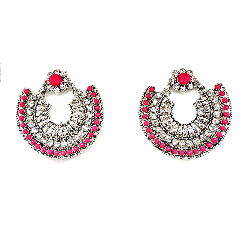 Starnk Designer silver Afghani Tribal Dangler Chandbali Earrings for Girls Fancy Party Wear Earrings for Women