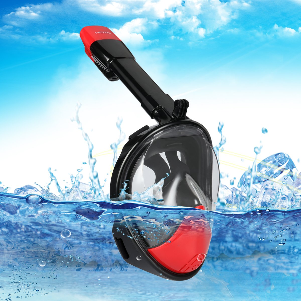 Snorkeling Mask for Adults HiCool 180 Degree Larger Flat Viewing Snorkeling Diving Mask with Detachable GoPro Mount (Gopro Compatible) and Longer Ventilation Pipe for Anti Fog and Anti Leak