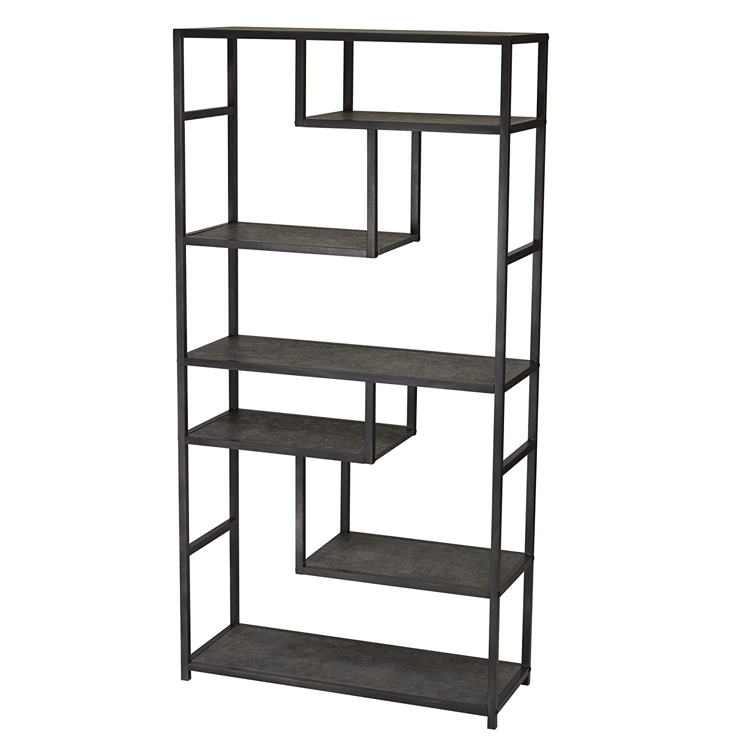 Gray-Brown Household Essentials 8073-1 Ashwood Storage Bookcase 3 Tier Shelf