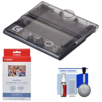 Amazon.com: Canon PCC-CP400 Card Size Cassette for Selphy CP1200, CP1300 Printers with KC-36IP Color Ink Paper Set + Cleaning Kit: CANON: Office Products