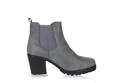 1a42bedc705fe1 Frentree Damen Stiefeletten- Chelsea Boots- Ankle Boots mit Blockabsatz