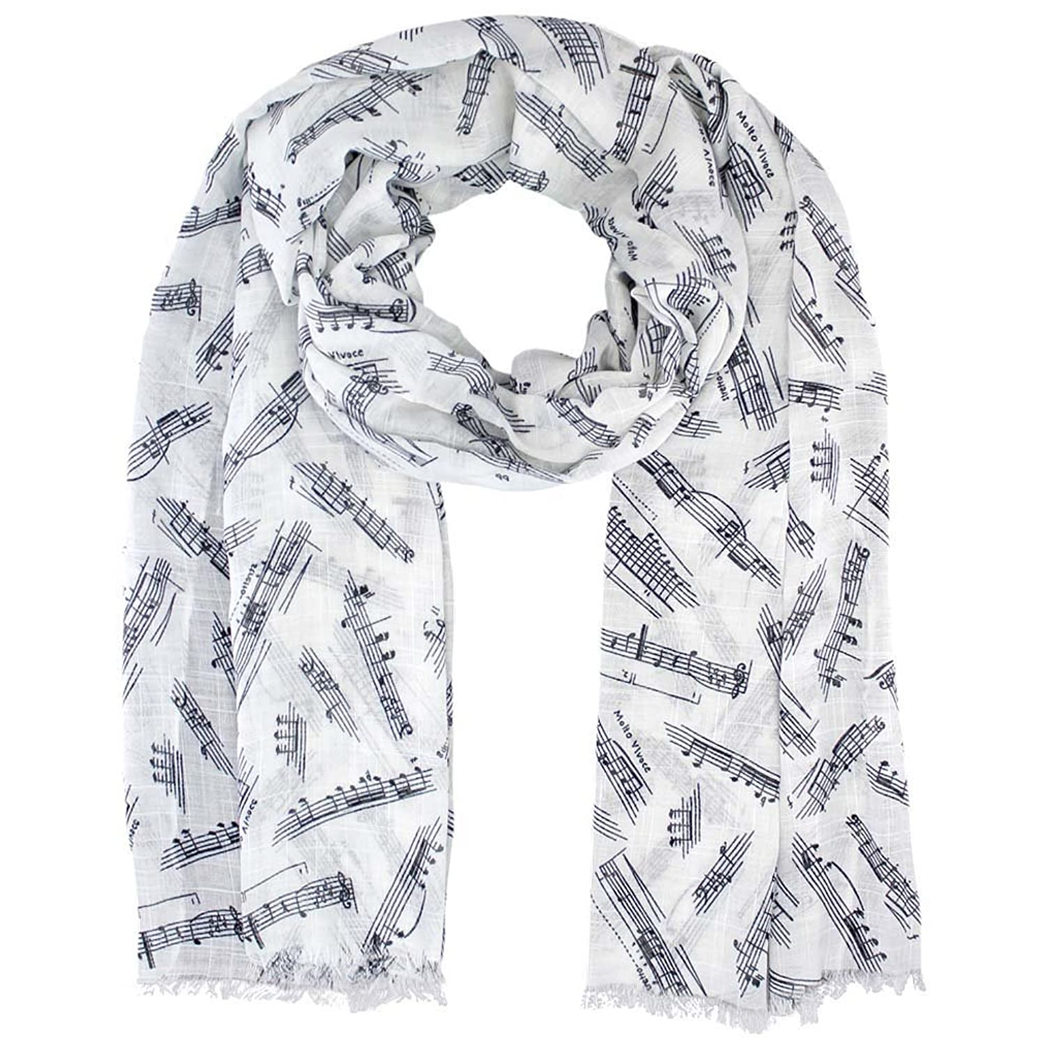 Luxury Divas Musical Note Print Lightweight Oblong Scarf