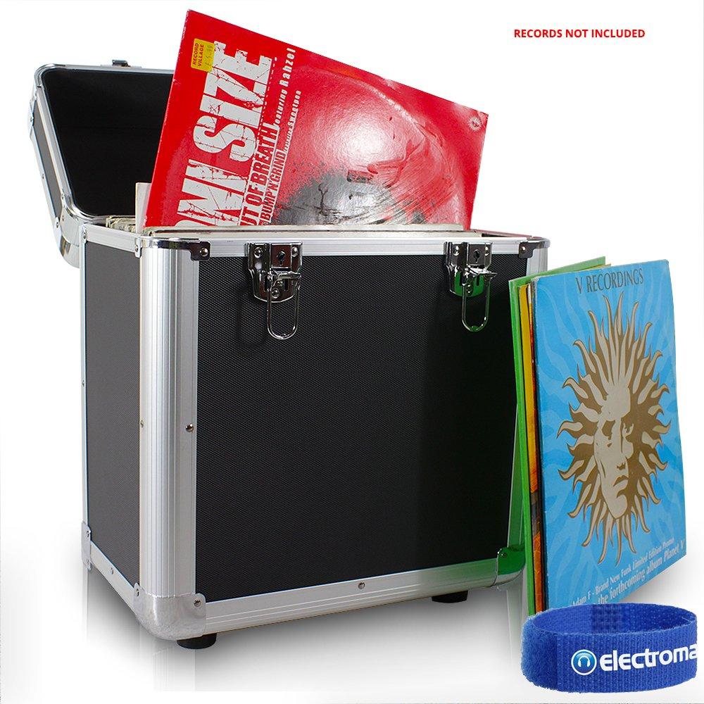 "PD LP 80 x 12"" Vinyl Record Box Storage Flight DJ Case Black Tronios BV"