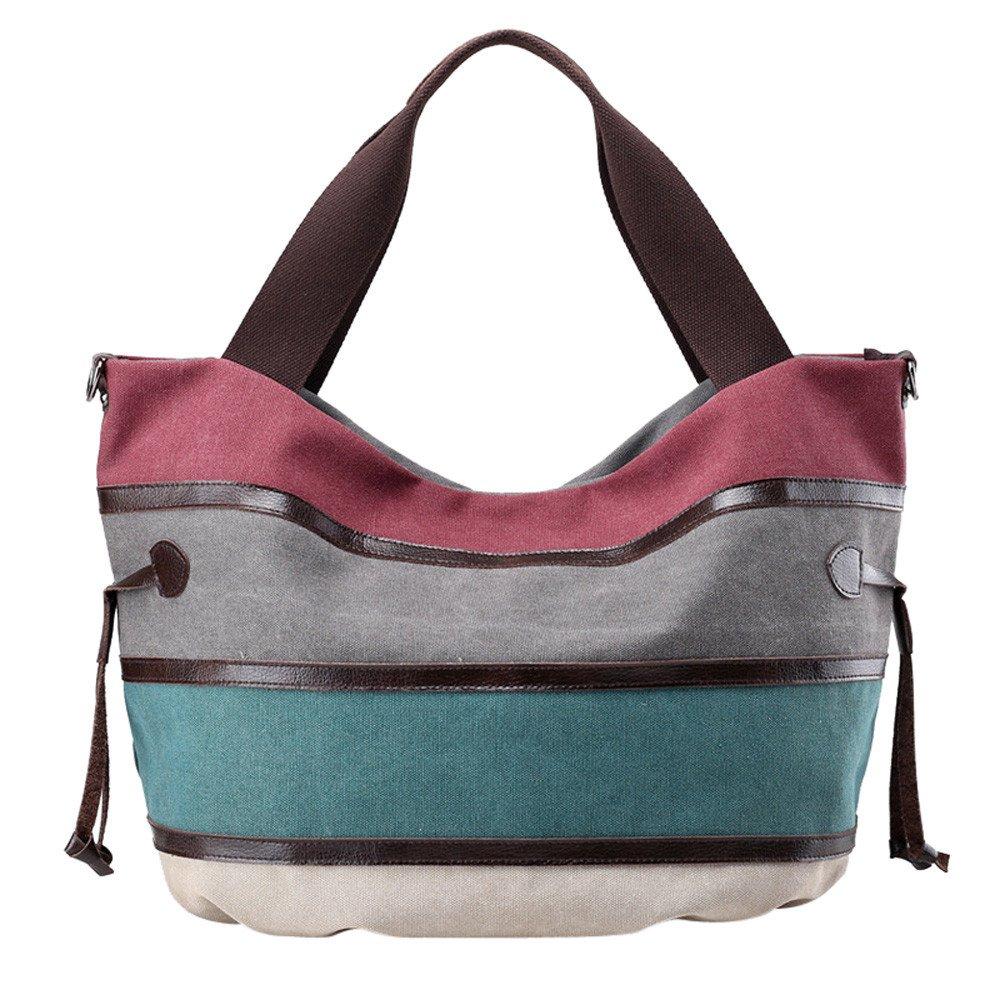 Clearance Sale! ZOMUSA Women's Casual Multi-Pocket Canvas Handbags Messenger Bag Tote Single Shoulder Shopping Bags (Purple ) by ZOMUSA