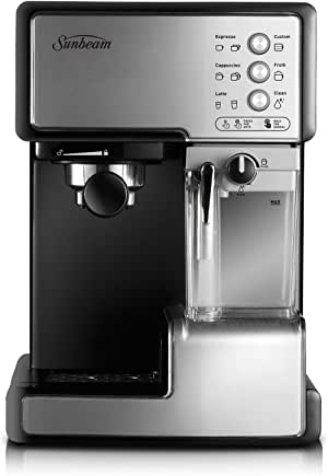 Sunbeam Café Barista Coffee Machine | One-Touch Espresso, Latte & Cappuccino Coffee Maker | 2L Water Tank | Automatic Milk Frother & Removable Milk Reservoir | 15 Bar Pump | Stainless Steel