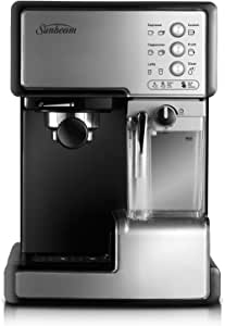 Sunbeam Café Barista | One-Touch Espresso, Latte & Cappuccino Coffee Machine | 2L Water Tank | Automatic Milk Frother & Removable Milk Reservoir | 15 Bar Pump | Stainless Steel