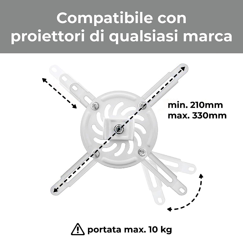 """Provis PRV44237 Supporto da Soffitto /""""Prime/"""" ottimo per ogni Proiettore 100/% Professionale di Qualit/à Superiore HD Staffa a soffitto universale da 15cm per videoproiettore"""