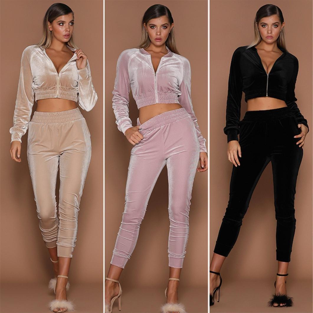 Wensltd 2018 Fashion Womens 2pcs Hoodies Sweatshirt Pants Sets Velvet Tracksuit Jogging Gym Sport Suit (L, Pink) by WensLTD