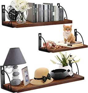Floating Shelves for Wall Set of 3, Aneder Rustic Wall Storage Shelf Heavy Duty Display Ledge Hanging Shelf Organizer for Bedroom, Living Room, Bathroom, Kitchen, Office