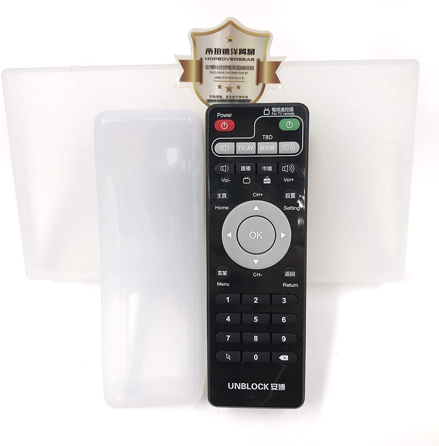HOPE OVERSEAS Unblock tech Original Remote for ubox, with case in Pack. Support All ubox Model. Supply by Hope overseas Trading, an Authorized Distributor by unblock tech in The United States