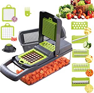 Vegetable Chopper,BRITOR Onion Chopper Mandoline Slicer Cutter Chopper and Grater Vegetable Slicer Potato Veggie Chopper Dicer with Container Black
