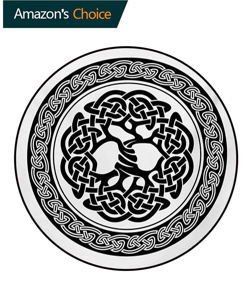 RUGSMAT Celtic Modern Machine Washable Round Bath Mat,Native Celtic Tree of Life Figure Ireland Early Renaissance Artsy Modern Design Non-Slip Soft Floor Mat Home Decor,Round-59 Inch by RUGSMAT (Image #1)