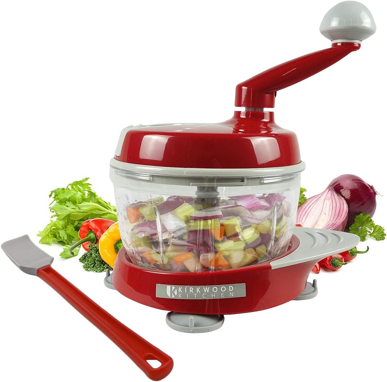 KIRKWOOD KITCHEN Multi-function Manual Food Processor Kitchen Meat Grinder Vegetable Chopper, Slicer Spinner Dicer for Fruits, Herbs, Lettuce, Salad & Foods