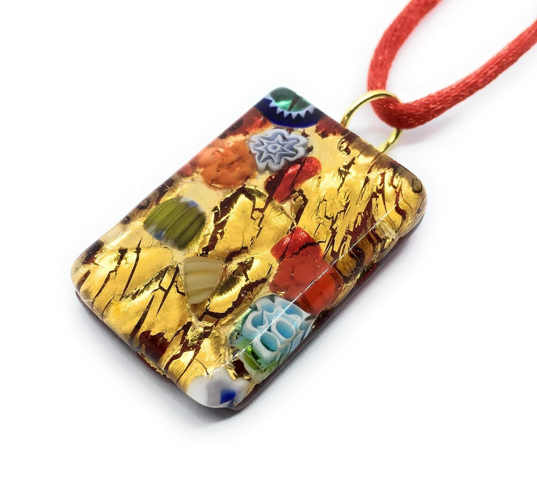 Colgante de cristal de Murano - Millefiori flores en la hoja ...