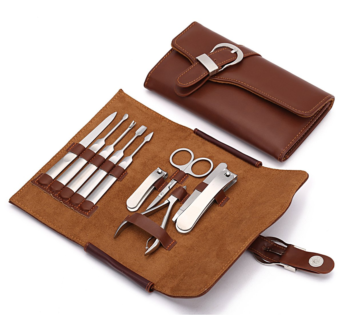 Manicure Set Nail Clipper Set of 10pcs With Leather Case - Professional Stainless Steel Grooming Kit Pedicure Set for Travel (Brown)