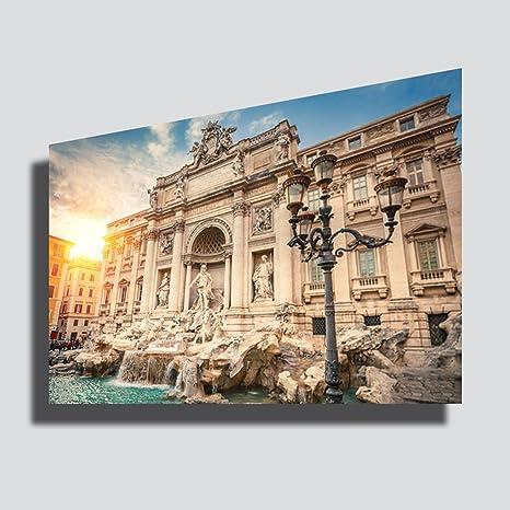 Quadro moderno XXL ROMA città Fontana di Trevi tramonto alba sunset ...