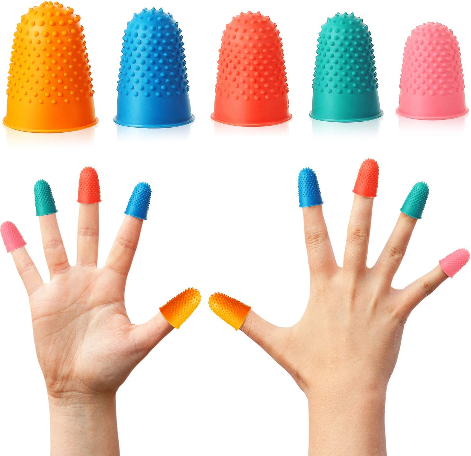 100 Pieces Rubber Fingers Tips Office Finger Protectors Reusable Finger Cover Pads for Money Counting Collating Writing Sorting Task Hot Glue and Sport Games Assorted Sizes and Colors