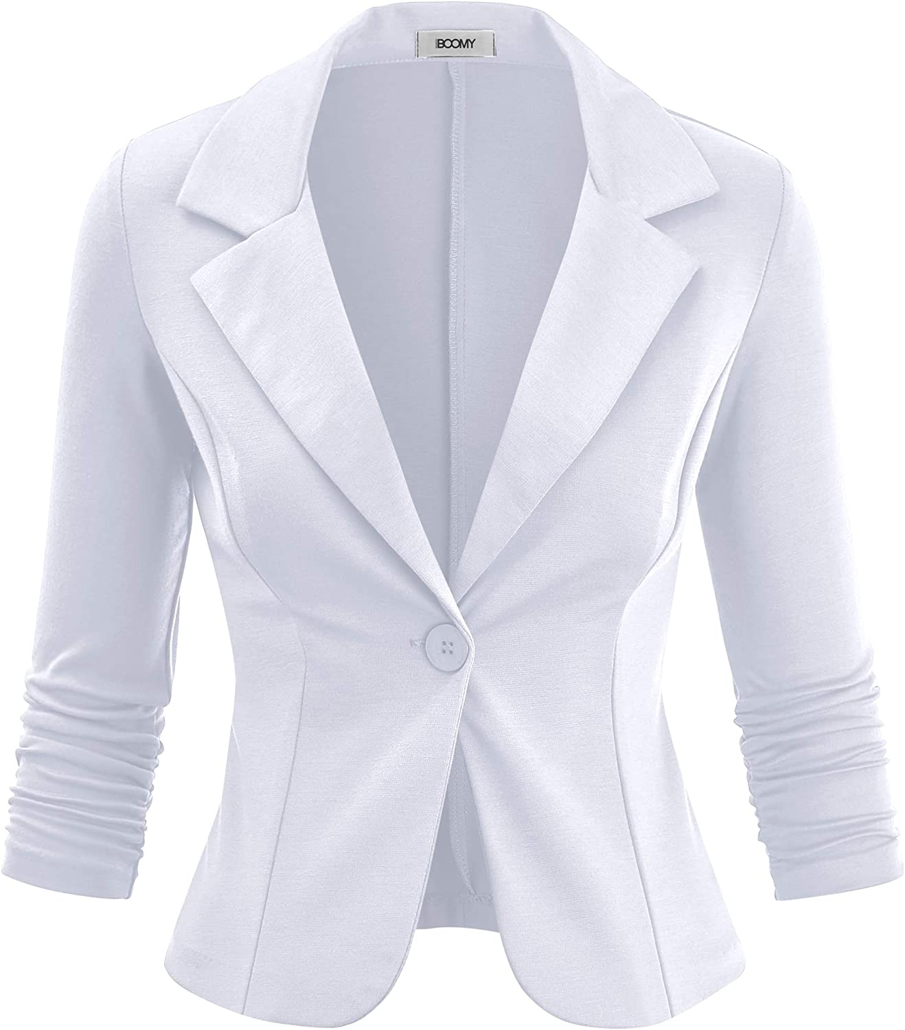 FASHION BOOMY Women's Casual Work Office Blazer - 3/4 Ruched Sleeve Knit Jacket - Regular and Plus Sizes