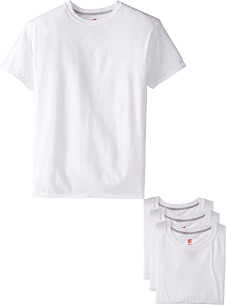 Hanes Ultimate Mens 4-Pack FreshIQ White Slim Fit Crew T-Shirt ...