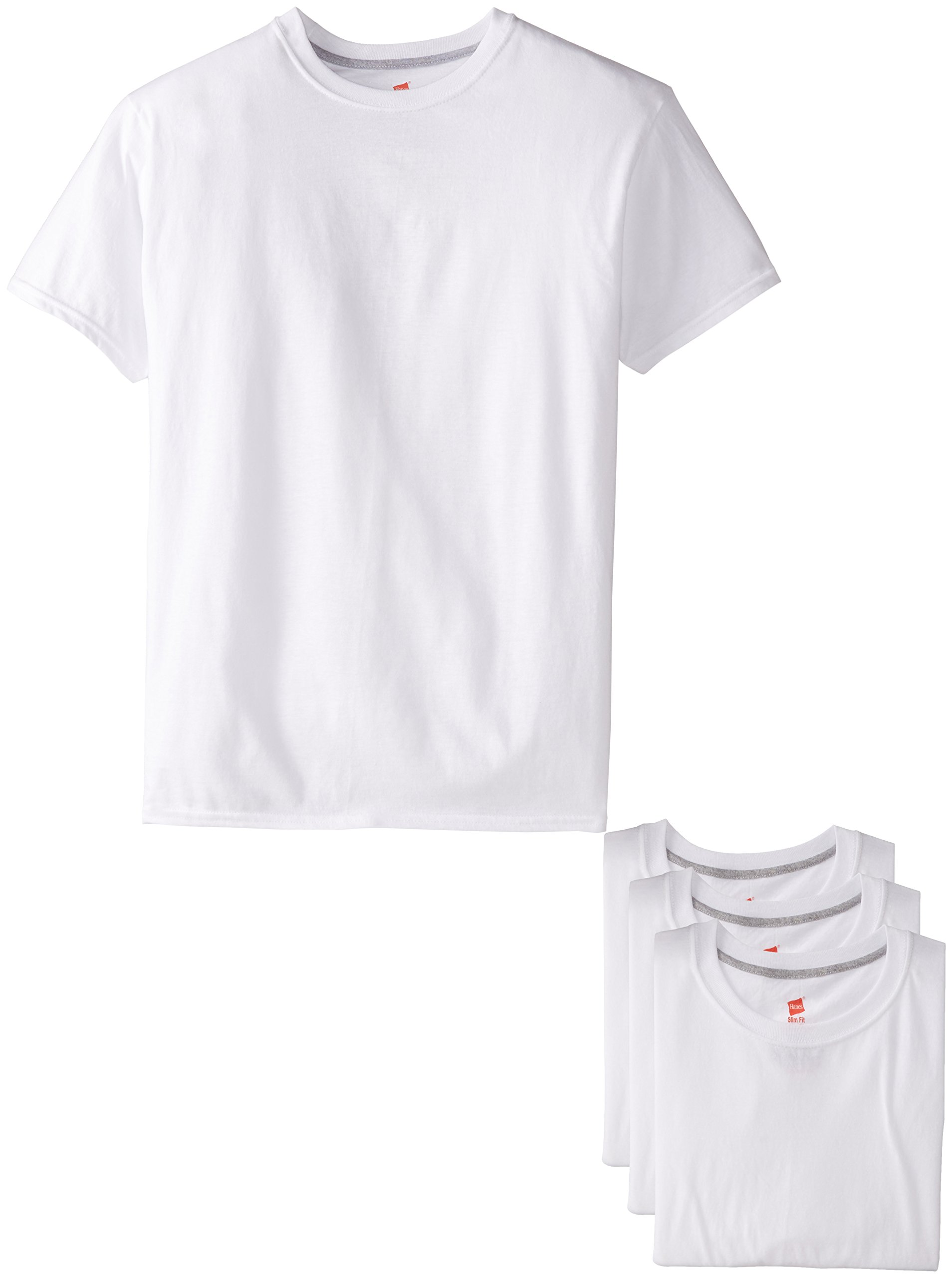 Hanes Ultimate Men's 4-Pack FreshIQ White Slim Fit Crew T-Shirt,White,Large