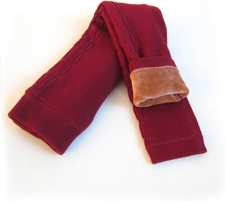 DCOIKO Girls Pants Velvet Skinny Warm Thick Leggings Fleece Lined Elastic Waist Knitting Trousers