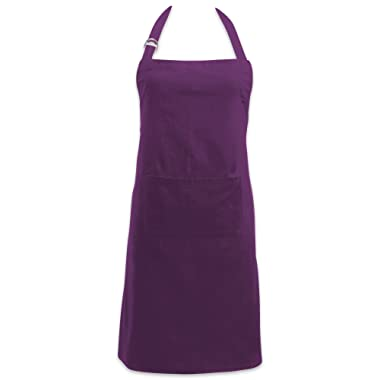 DII Cotton Adjustable Kitchen Chef Apron with Pocket and Extra Long Ties, 32 x 28 , Commercial Men & Women Bib Apron for Cooking, Baking, Crafting, Work Shop, BBQ-Eggplant