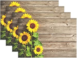 Wamika Beautiful Sunflowers Placemats Set of 6 Wood Board Florals Table Mats Spring Summer Autunm Place Mats for Kitchen Dining Decor Heat Resistant Non-Slip Washable 12 X 18 in