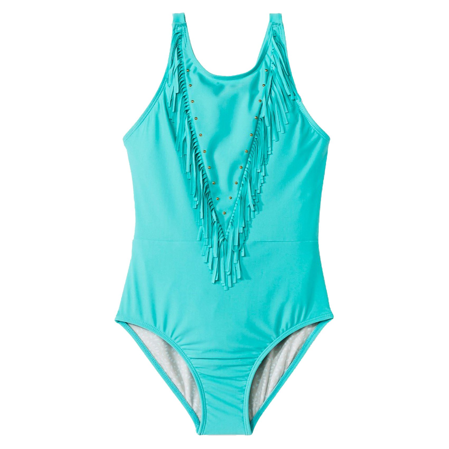 Cleobella Turquoise Wild Flower Girls' One Piece Swimsuit (Large, Seaglass)