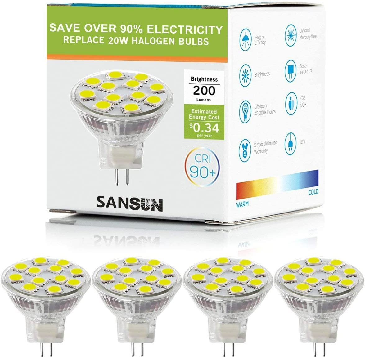 Bombillas LED MR11 de 2 W, 12 V, 20 W, halógeno de repuesto, base de dos pines GU4, plateado, SL12D50506KK