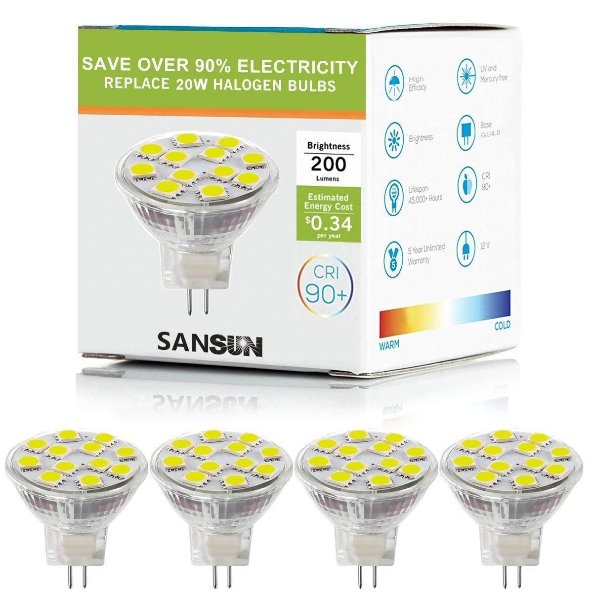 2W LED MR11 Light Bulbs, 12v 20w Halogen Replacement, GU4 Bi-Pin Base, Soft White 3000K, (Pack Of 4) SANSUN SL12D50503KK