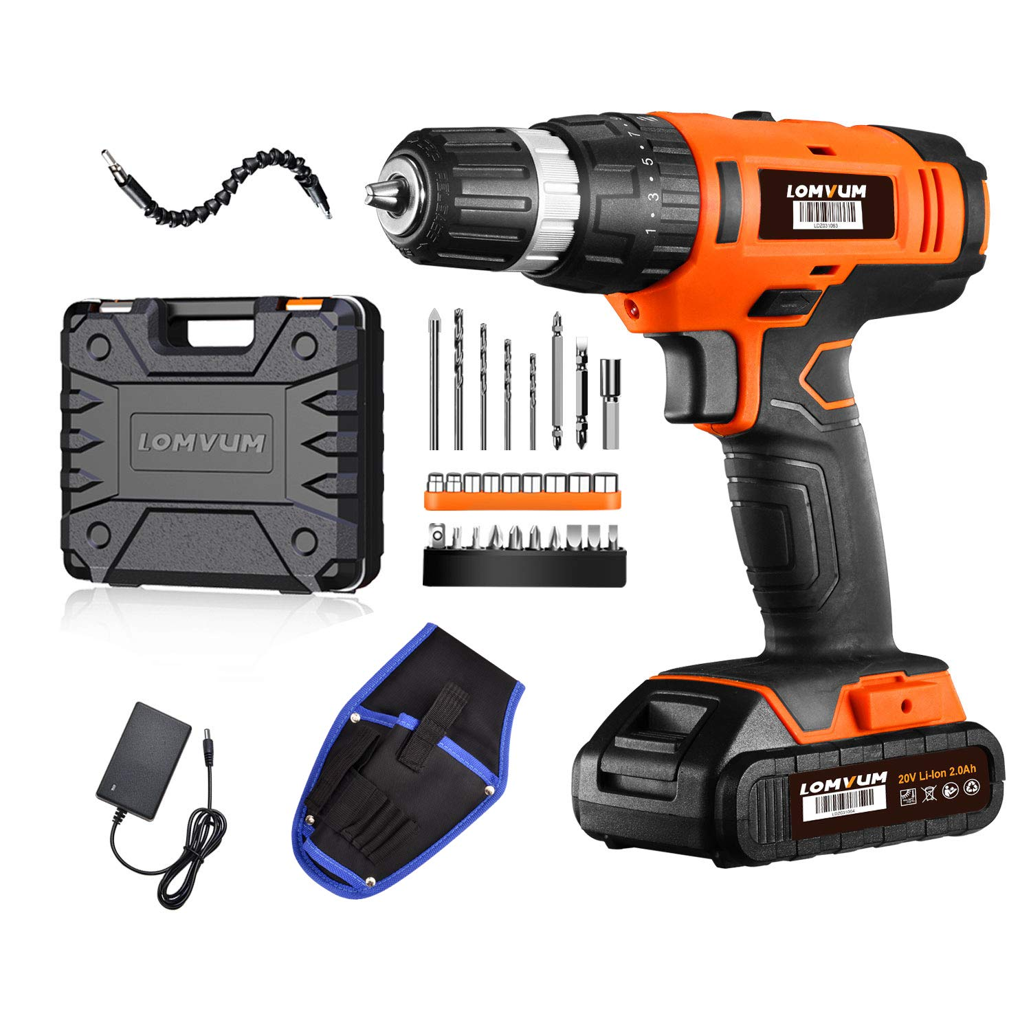 Cordless Drill Driver Lomvum 20V Power Drill with Lithium-ion Batterry, 1 Faster Charger, 2-Speed 3 8 Keyless Chuck, Magnetic Flexible Shaft,LED, Waist Bag, Compact Case, Extra 46pcs Accessories