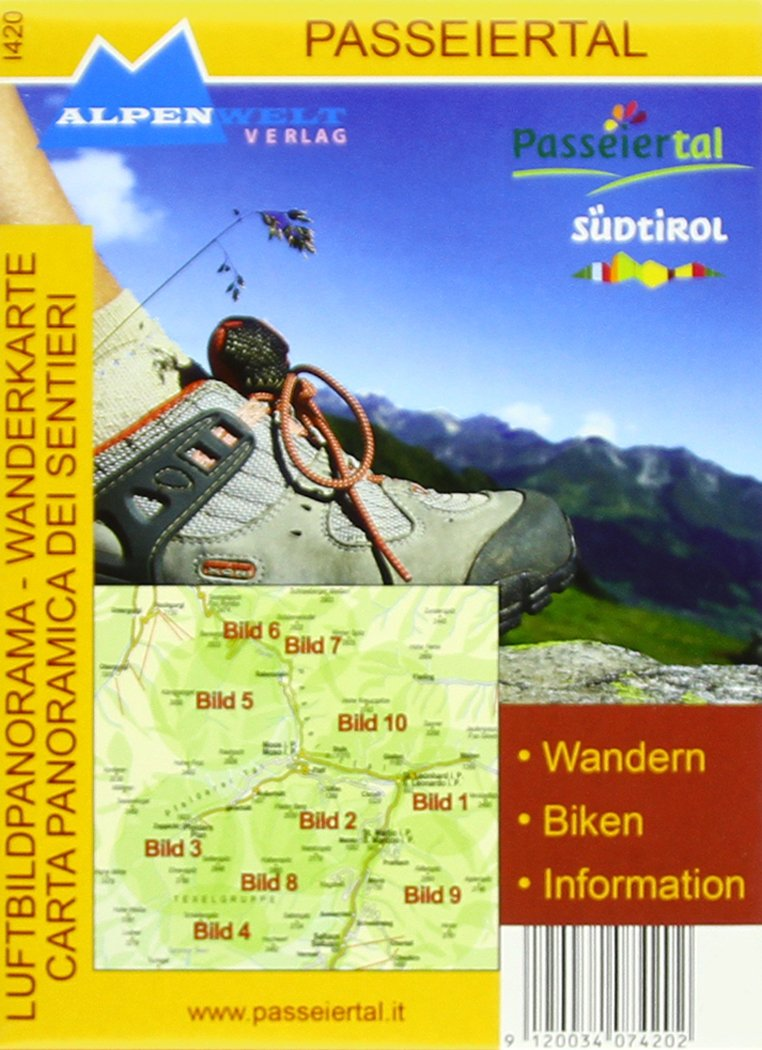 Luftbildpanorama & Wanderkarte - Passeiertal