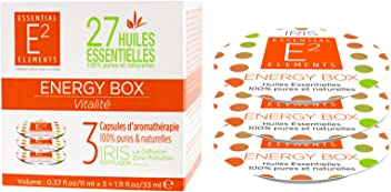 E2 Energy Box Trio de Capsules aux 27 Huiles Essentielles naturelles pour une Vitalité retrouvée - Diffuseur IRIS