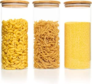 COYMOS 3 Pack Food Storage Jar, Glass Storage Jars with Sealed Bamboo Lid in 51 Oz for Lentils, Raisins, and Coffe