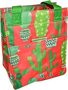 Insulated Reusable Zippered Lunch Bag with Aluminum Foil Insulated Zip Cooler and Secure Carrying Straps (Coral Cactus)