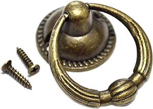 "8 PCS Vintage Ring Pulls Bronze Drawer Handles Antique Knobs Decorative Hardware with Screws for Furniture Cabinet Cupboard Dresser Big Size (Length:1-3/4"" Height:1-1/2"")"