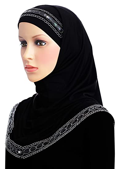 d911488cb003 Middle Eastern Mall Luxor Amira Hijab 2 Piece Women s Headscarf (Black)