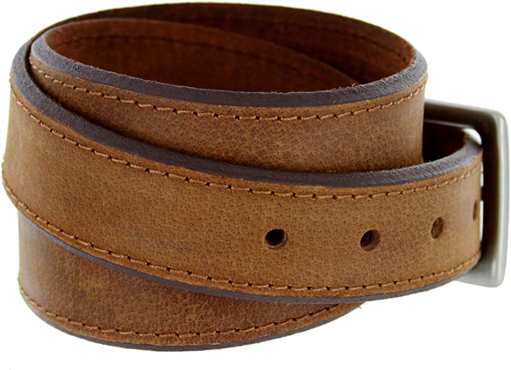 Classic Jean Beveled Edge Genuine Leather Belt for Men