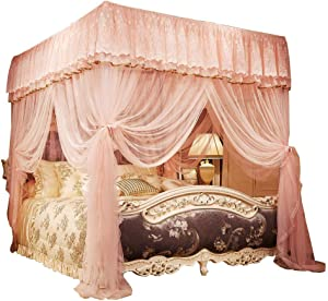 JQWUPUP Princess Bed Curtains Canopy, Lace Ruffle 4 Corner Post Mosquito Net for Bed, Bed Canopy for Girls Toddlers Crib Kids Adult, Bedding Décor (King, Peach)