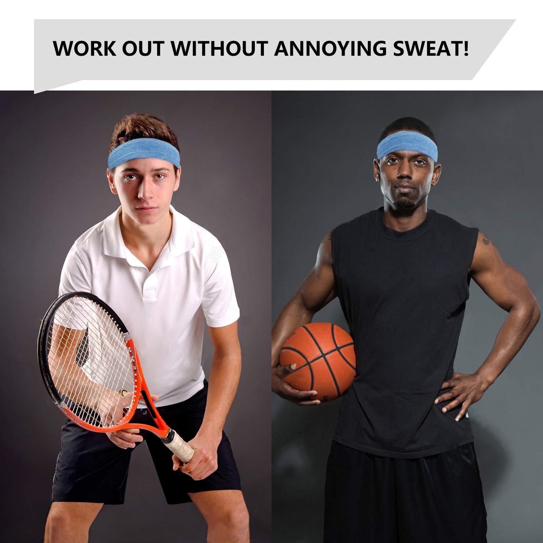 6 Pack Basketball Non-Slip Sweat Headbands Fit Men Women Boys Girls Running Moko Head Sweatband Set Super Soft Stretchy Sports Yoga Headband /& Hair Accessories Crossfit Workout