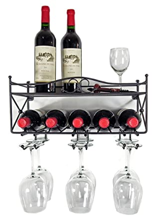mango steam wallmounted wine rack with shelf and stemware glass holder
