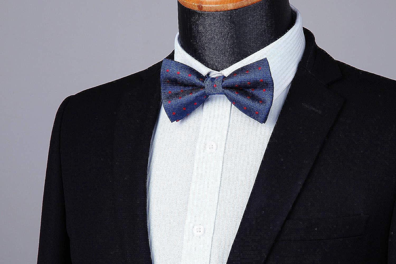 HISDERN Classic Check Polka Dot Pre-Tied Fliege Herren Hochzeit Party Einstellbare Fliege