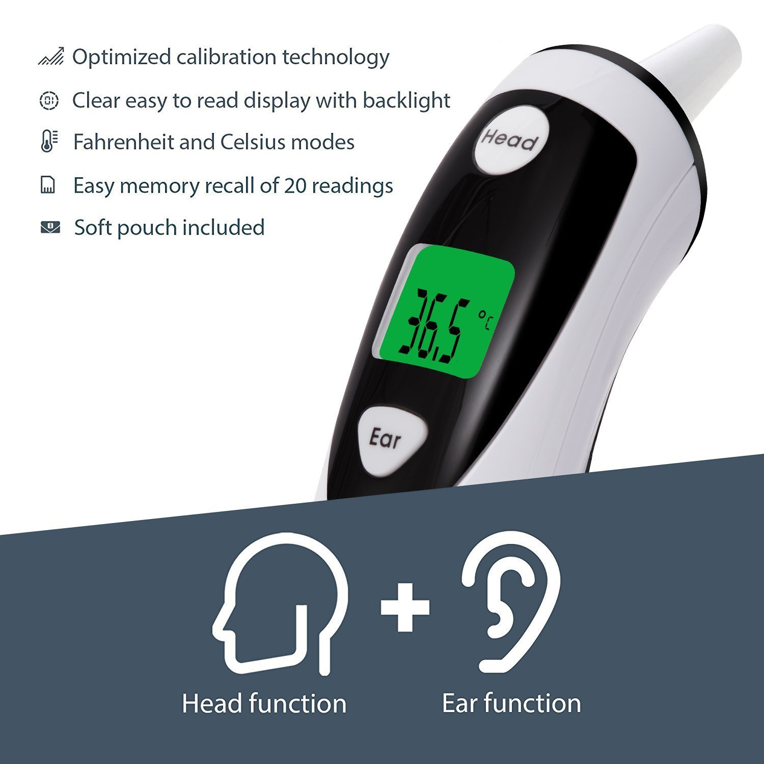 TrackAid Medical Forehead and Ear Thermometer, Infrared Digital Thermometer Suitable for Baby, Infant, Toddler and Adults with FDA and CE Approved by TrackAid (Image #4)