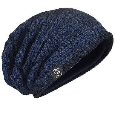 ee7e2c6f8037e4 Men Oversize Skull Slouch Beanie Large Skullcap Knit Ski Hat B08 (5001-Navy  Black