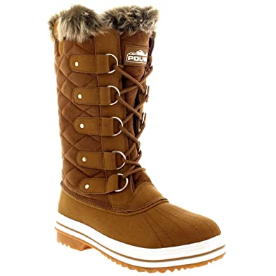 eeda351593074 Polar Womens Snow Boot Quilted Tall Winter Snow Waterproof Warm Rain Boot