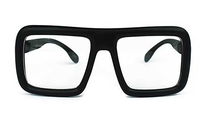 2b710c6d5a Image Unavailable. Image not available for. Colour  Oversized Square  Hipster Thick Frame Unisex Rectangular Glasses (Matte Black-Clear Lens)