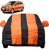 Autofact Car Body Cover for Maruti Alto k10 (Mirror Pocket Fabric, Triple Stiched, Fully Elastic, Orange/Blue Color)