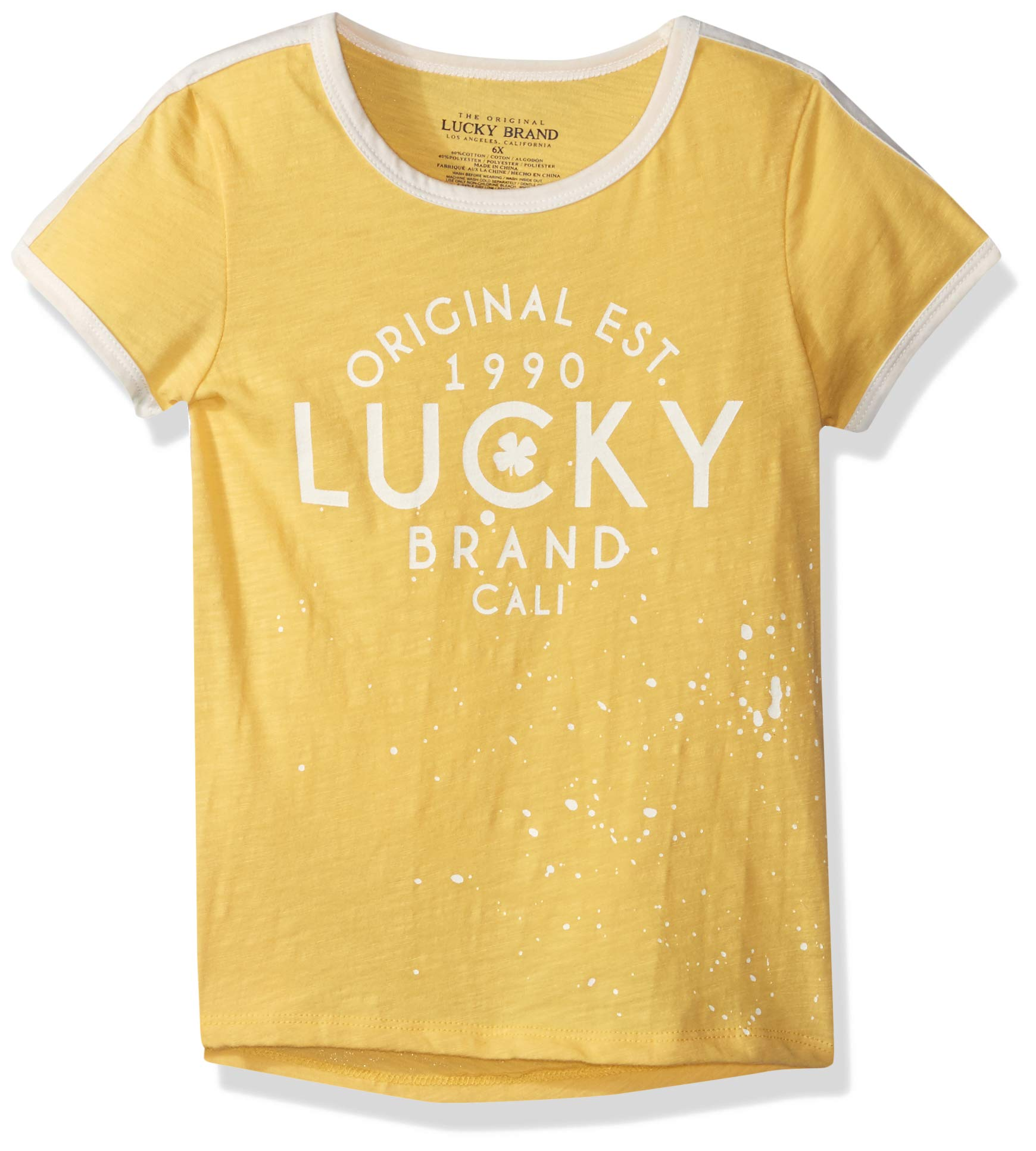 Lucky Brand Little Girls' Graphic Tee, Eliosa Buff Yellow, 6