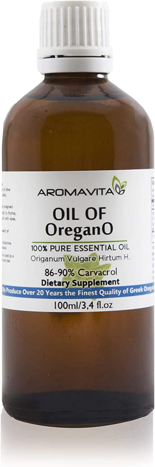 Aromavita Essential Oil of Oregano – 100 Pure Undiluted, Non GMO, Extra Strength Greek Oregano Oil – Over 86 Carvacrol Oregano Extract Liquid Nutritional Supplement 3.4 FL.OZ 100ML